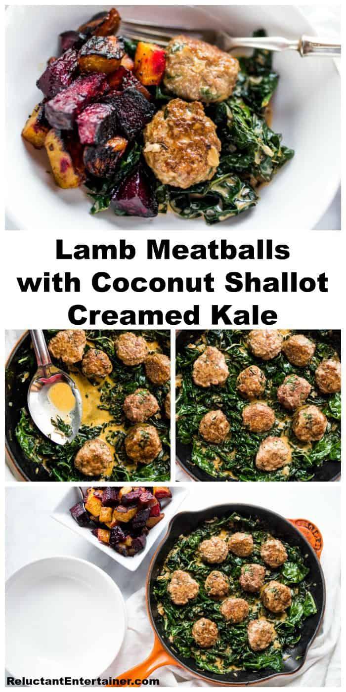 Lamb Meatballs and Coconut Shallot Creamed Kale Recipe