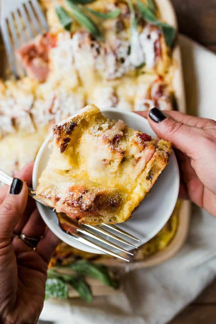 Overnight Monte Cristo Breakfast Casserole - serve!