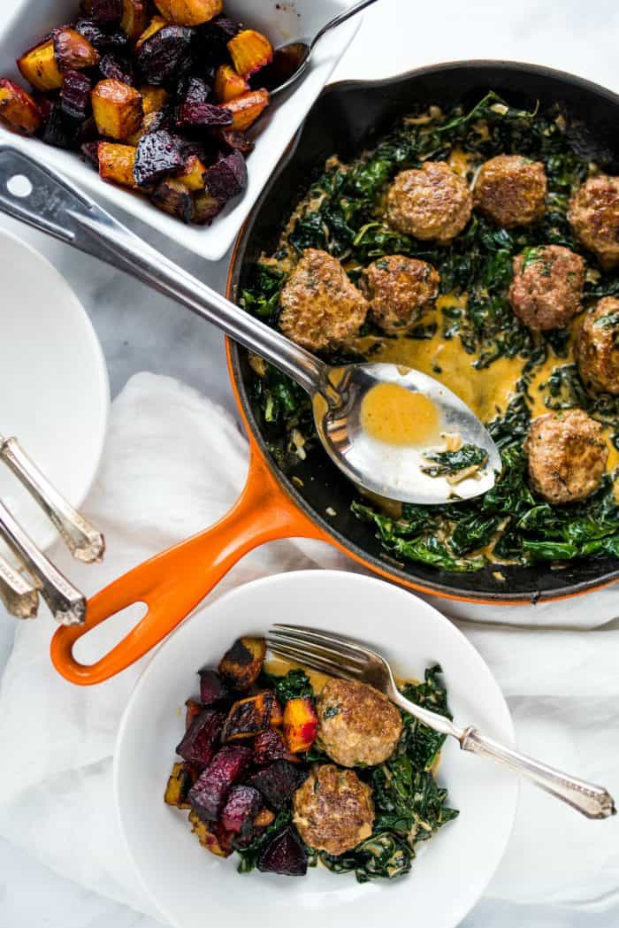 Lamb Meatballs with Coconut Shallot Creamed Kale