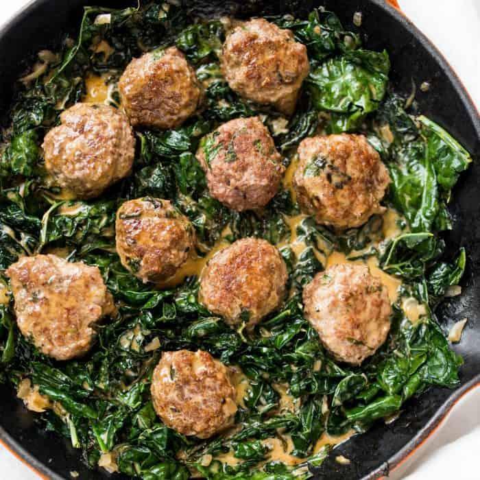 Tasty Lamb Meatballs and Coconut Shallot Creamed Kale Recipe