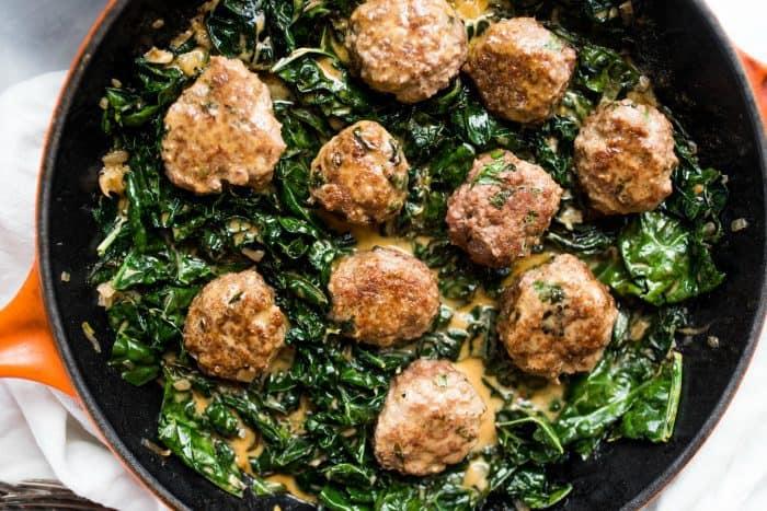 Tasty Lamb Meatballs and Coconut Shallot Creamed Kale