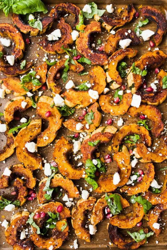 NO PEEL Baked Spicy Delicata Squash Salad with Feta