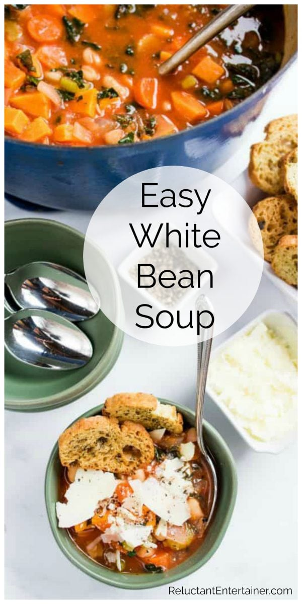 pot of soup with a small bowl of white bean soup