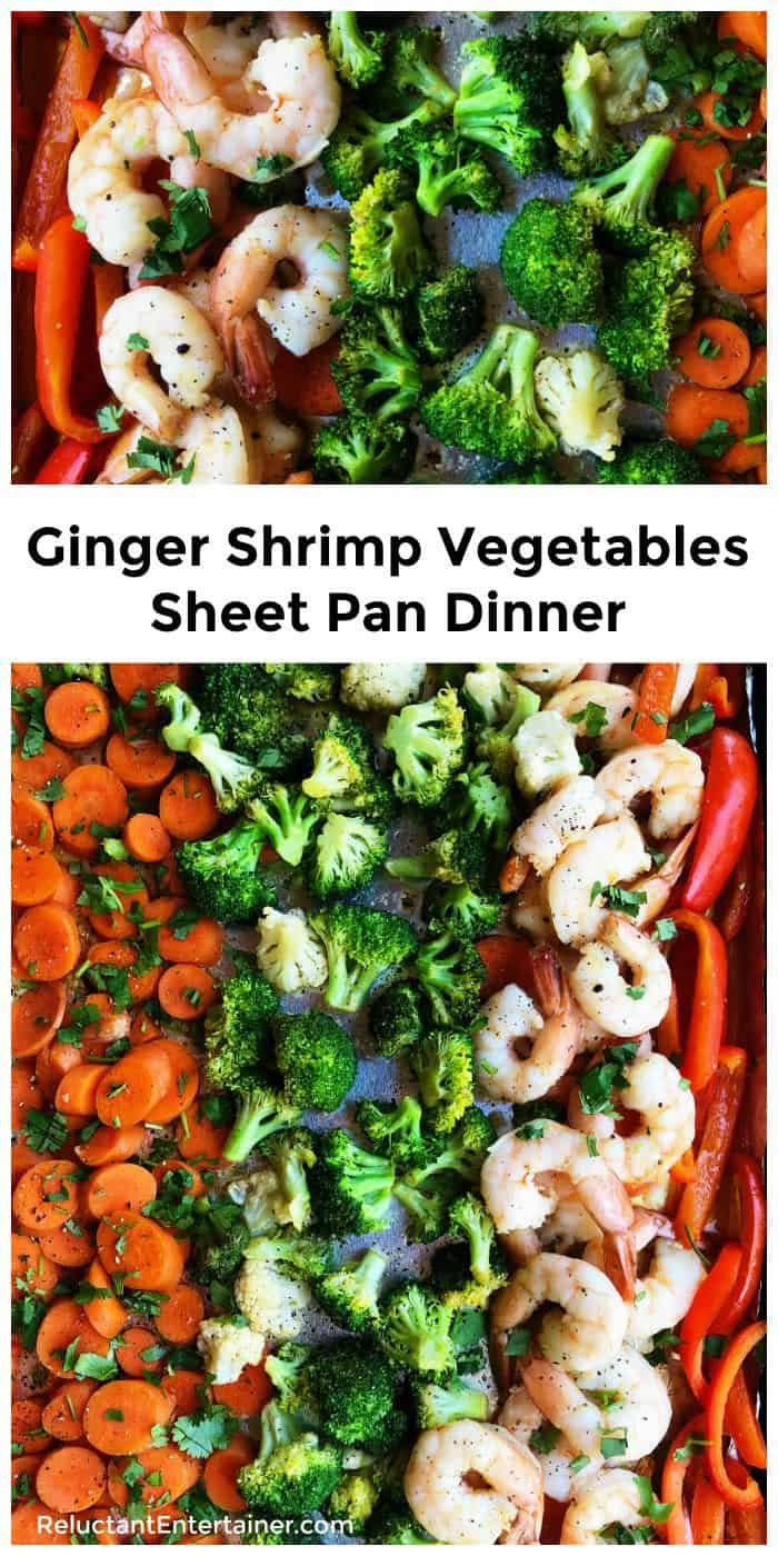 Ginger Shrimp Vegetables Sheet Pan Dinner Recipe