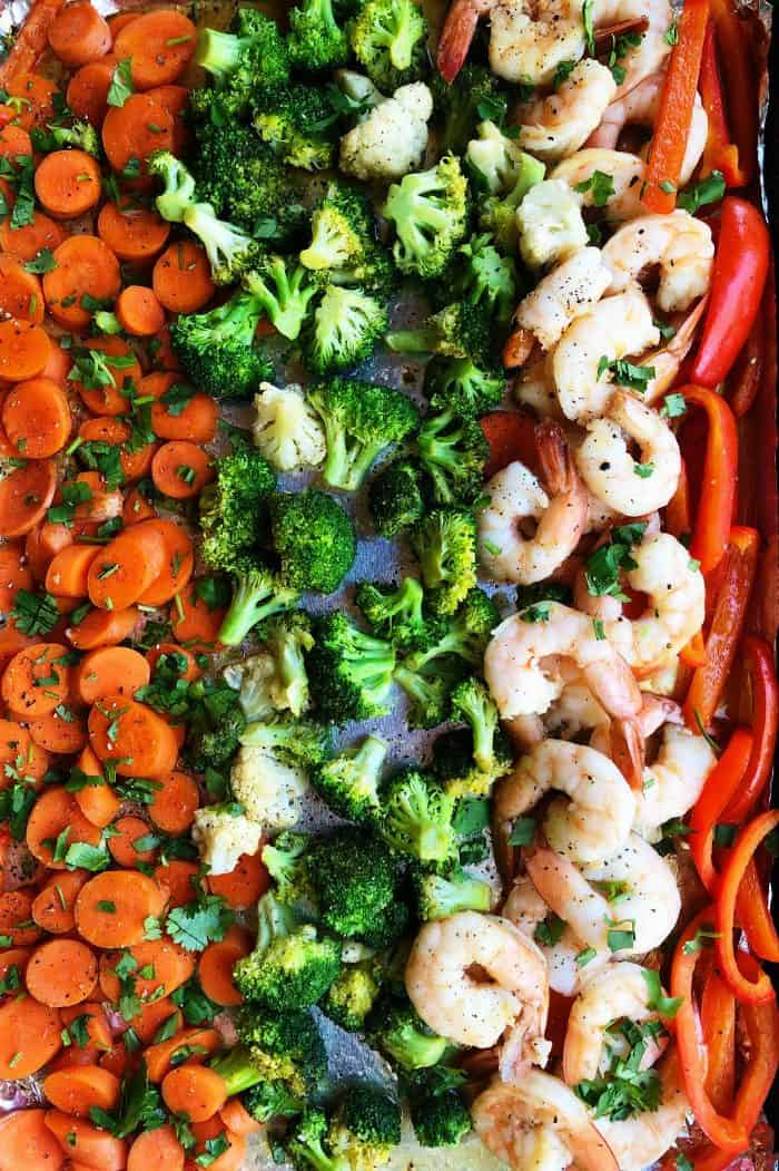 Ginger Shrimp Vegetables Sheet Pan Dinner