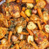 saucy paprika chicken thighs with carrots and potatoes