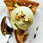 pear cake with pistachio ice cream