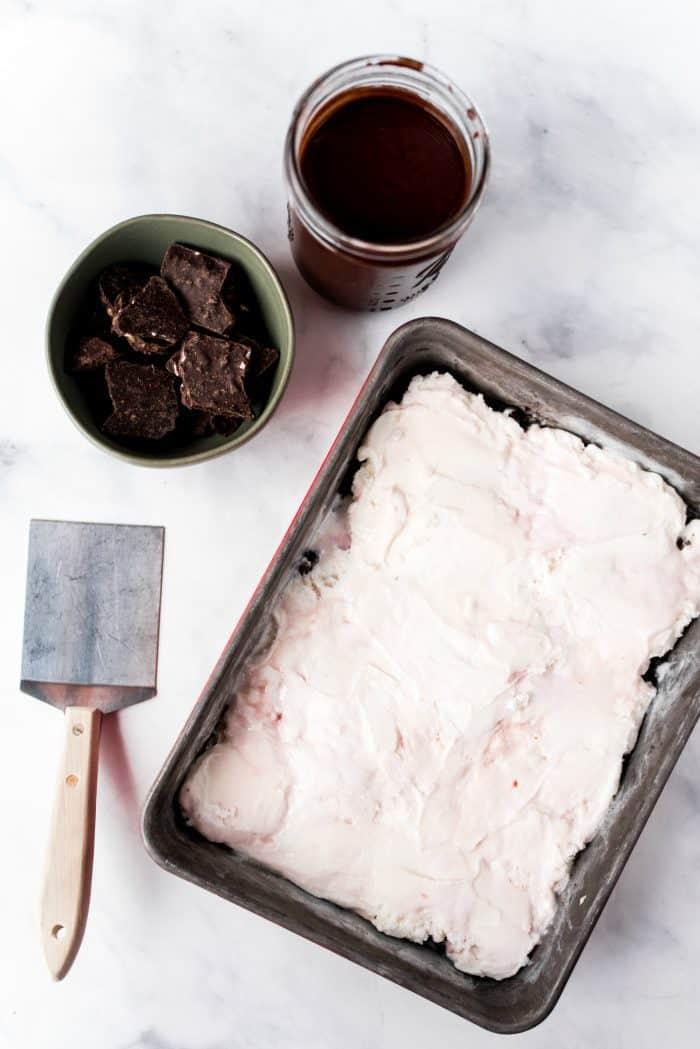 jar of Homemade Chocolate Sauce Recipe for ice cream dessert