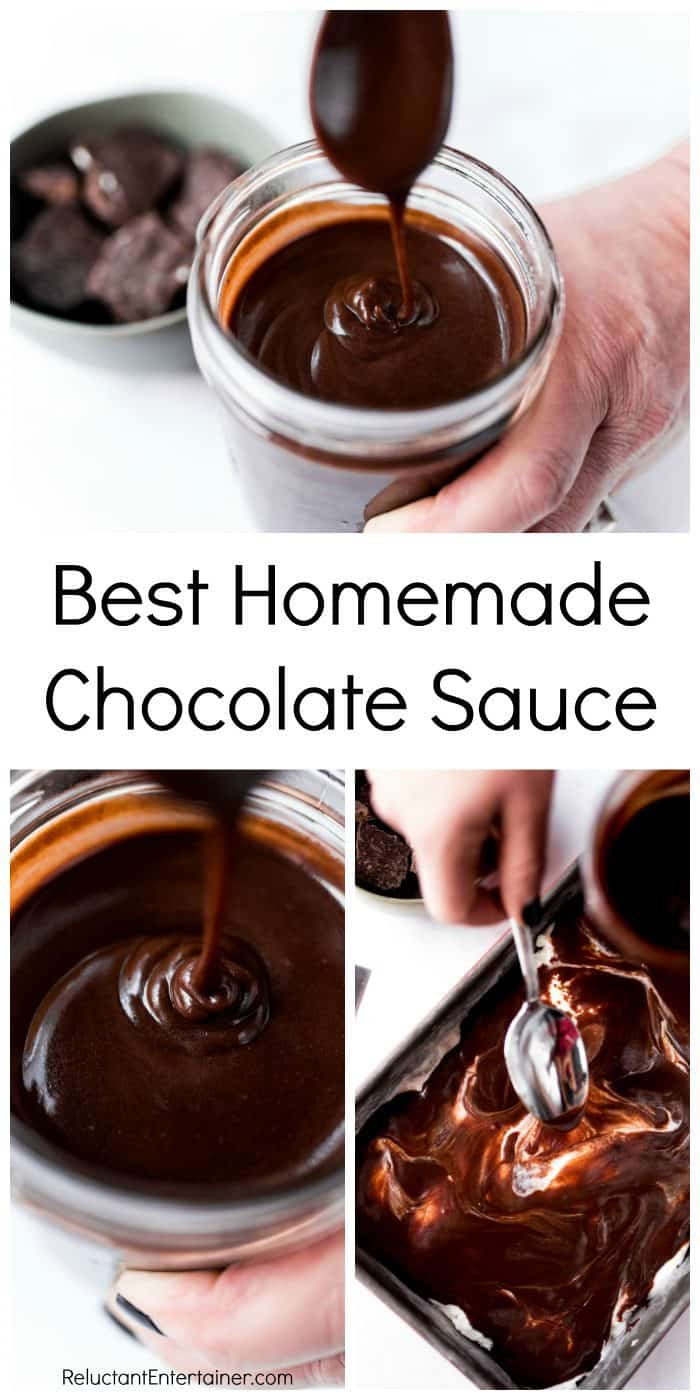 spooning Homemade Chocolate Sauce in a jar