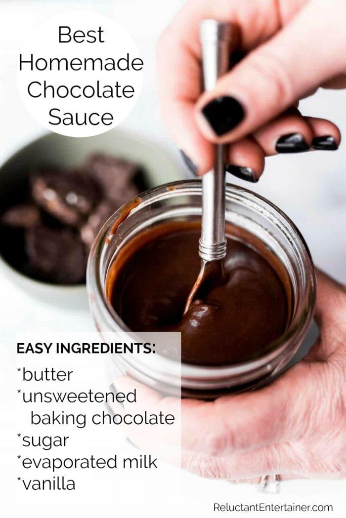 jar of homemade chocolate sauce