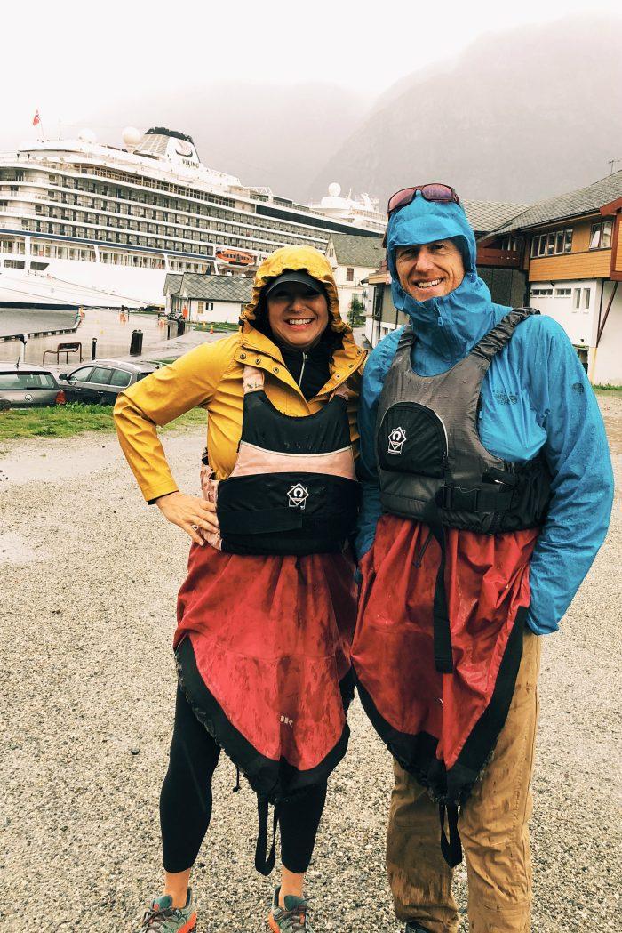 Homelands Viking Cruise Excursions Norway - gearing up kayaking