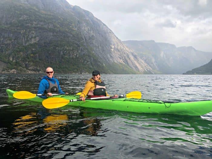 Homelands Viking Cruise Excursions Norway - green kayak