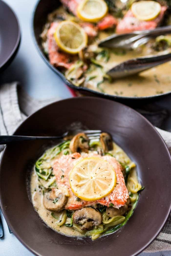 BEST Salmon Mushroom Zoodle Marsala Recipe