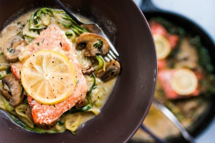 Easy Salmon Mushroom Zoodle Marsala