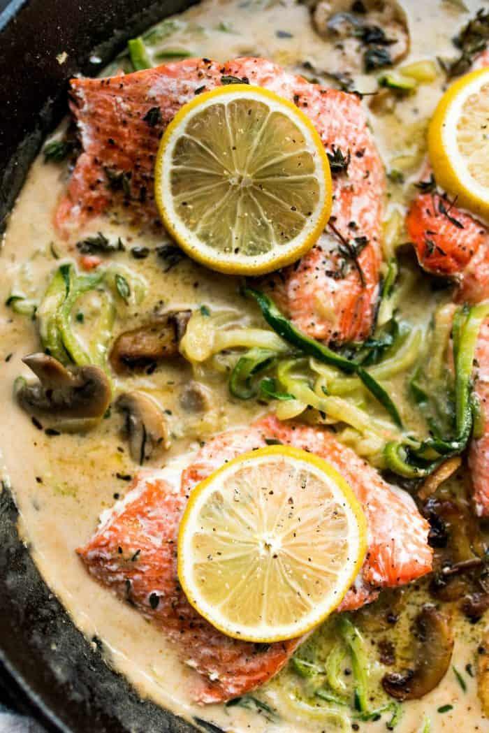 Salmon Mushroom Zoodle Marsala