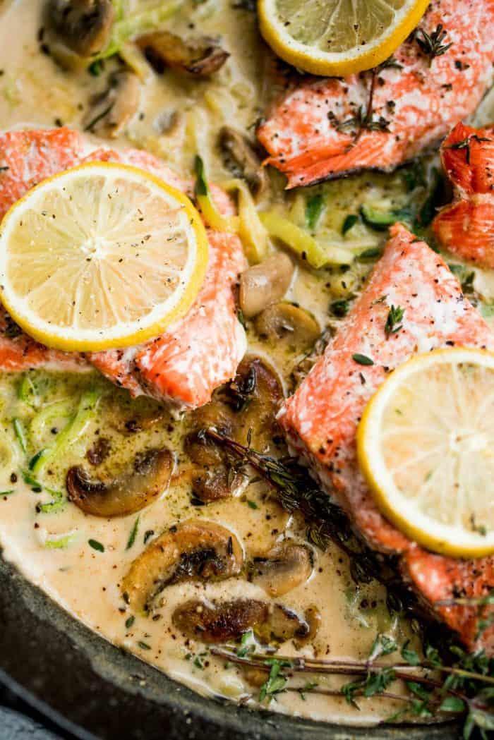 BEST Salmon Mushroom Zoodle Marsala
