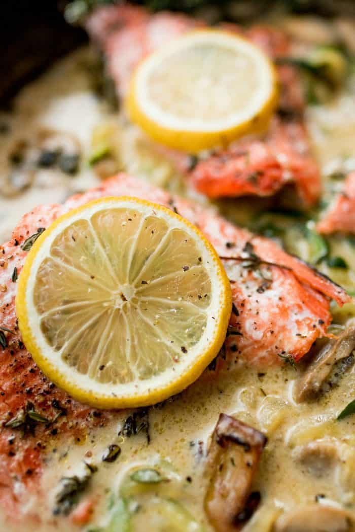 Tasty Salmon Mushroom Zoodle Marsala