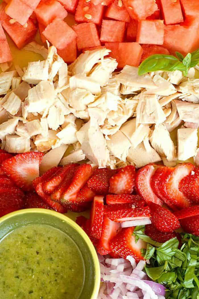 4 BEST Chicken Salad Recipes - strawberry watermelon salad