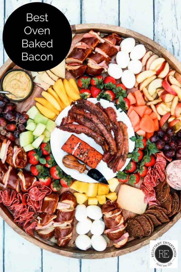 oven baked bacon on a breakfast board