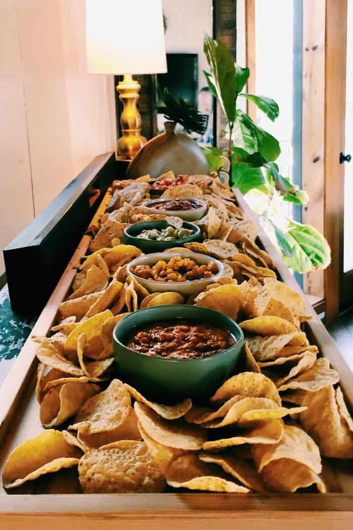 Trader Joe's Red Sauce Enchiladas - chips and salsa