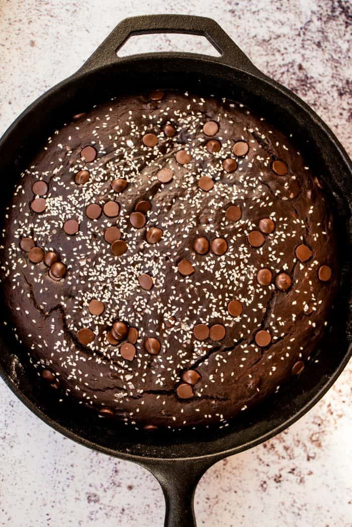 Best Chocolate Tahini Skillet Breakfast Banana Cake Recipe