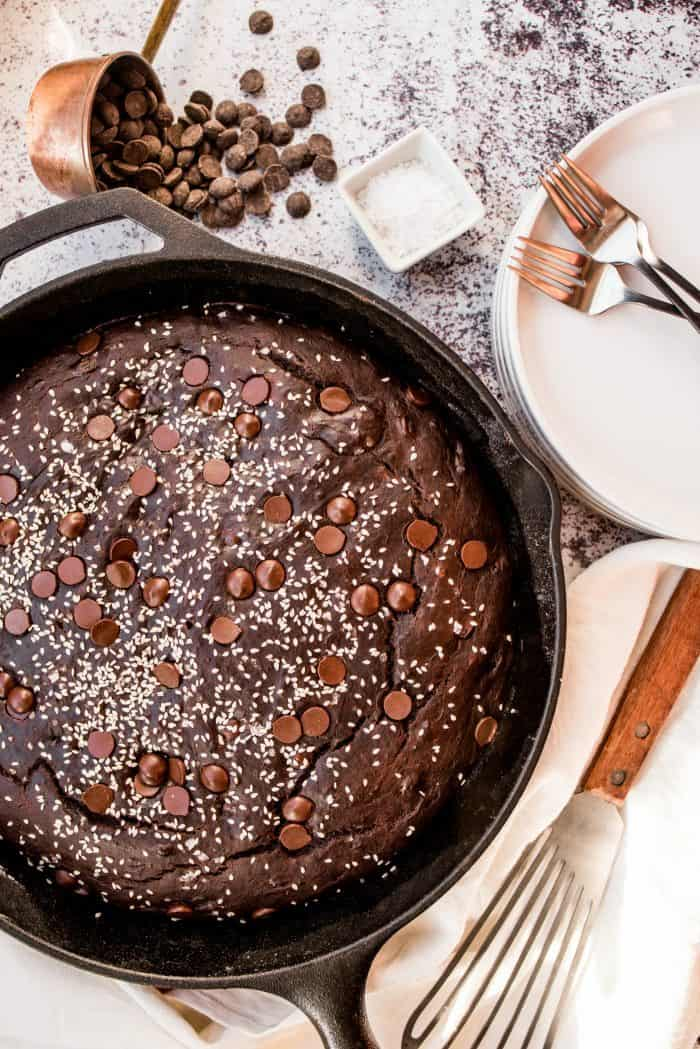 Easy Chocolate Tahini Skillet Breakfast Banana Cake
