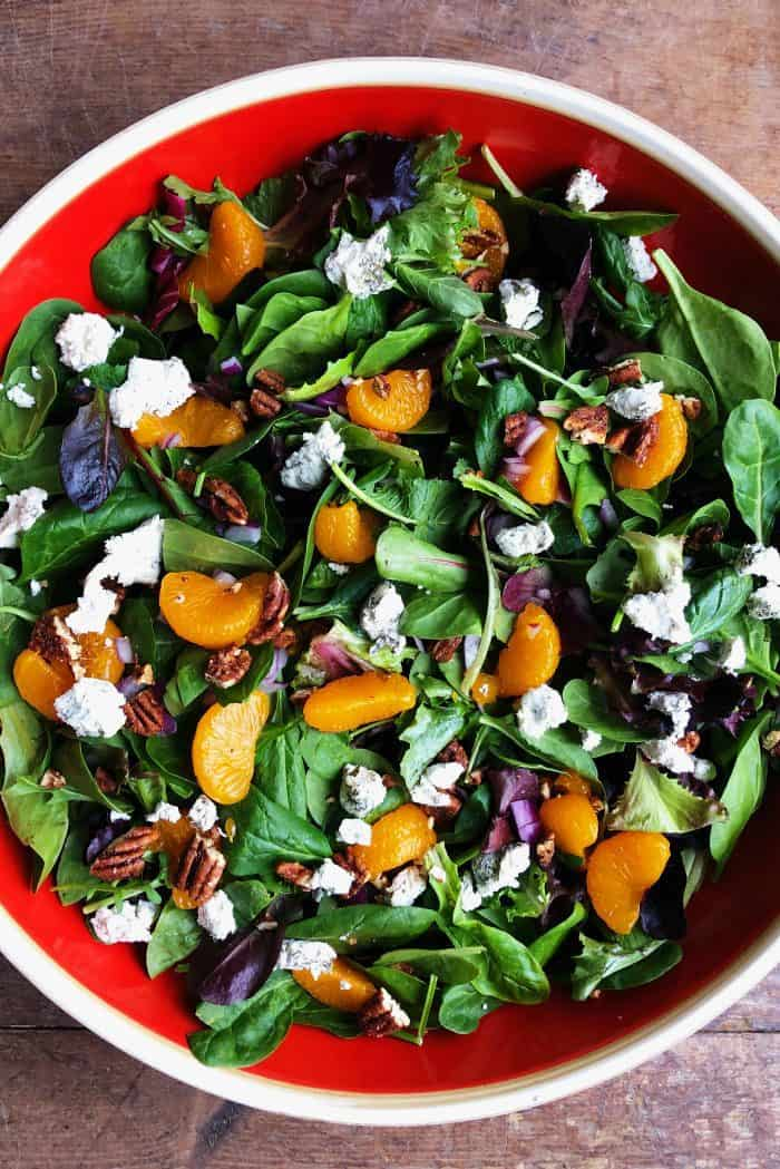 Mandarin Mixed Green Salad Recipe with citrus poppy seed dressing