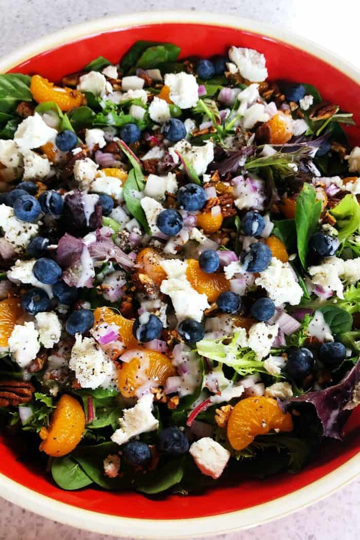 Mandarin Mixed Greens Salad Recipe with blueberries