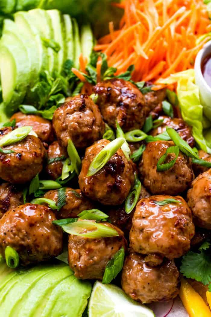Meatball Chicken Lettuce Wraps Platter
