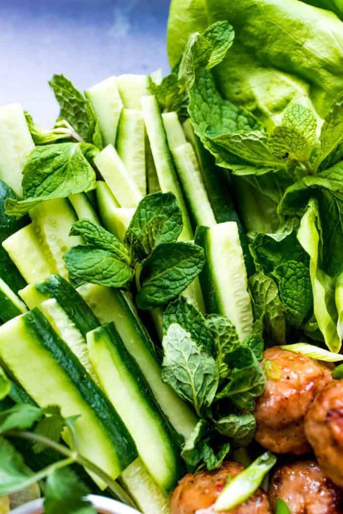 Meatball Chicken Lettuce Wraps Plate - herbs