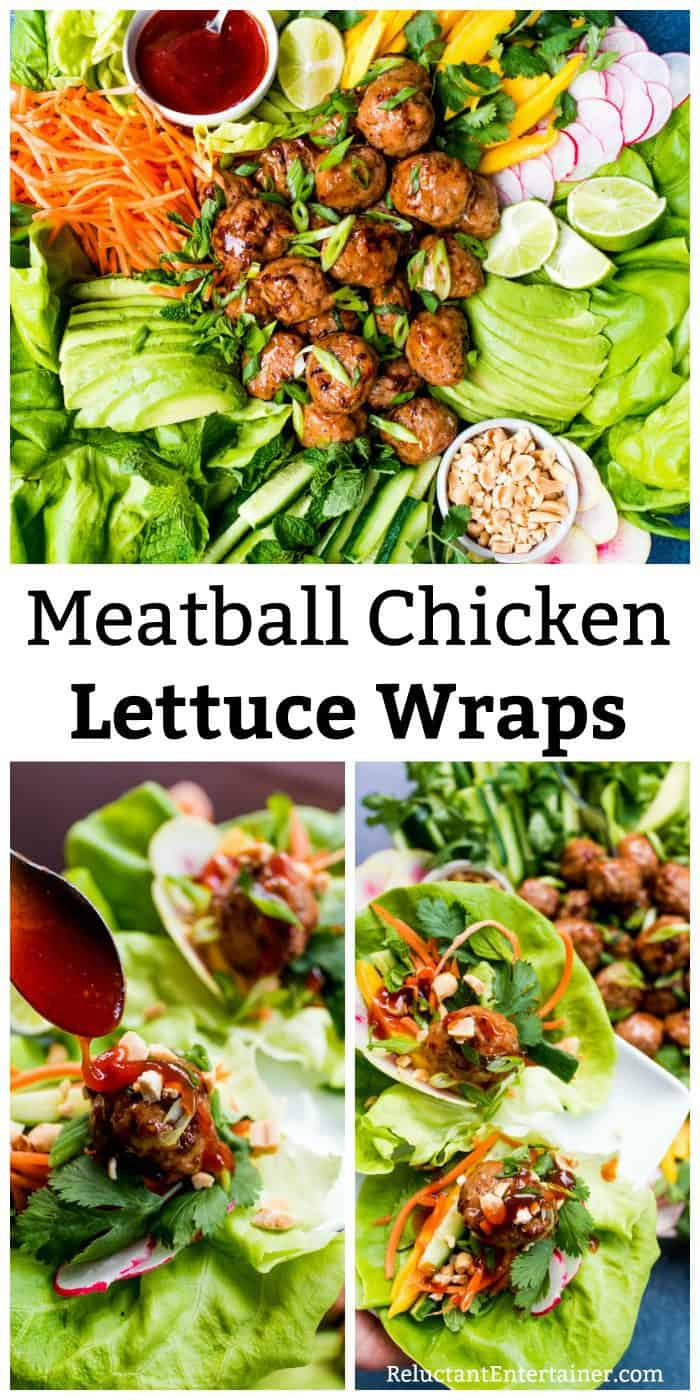 Meatball Chicken Lettuce Wraps Plate Recipe