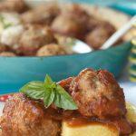 turkey meatballs, a serving of 2 on piece of polenta