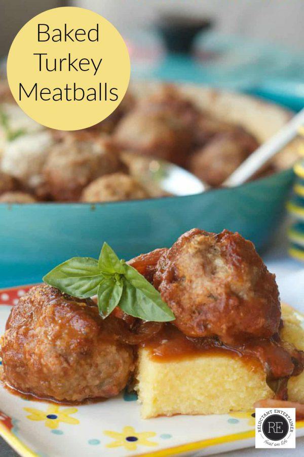 2 turkey meatballs on polenta