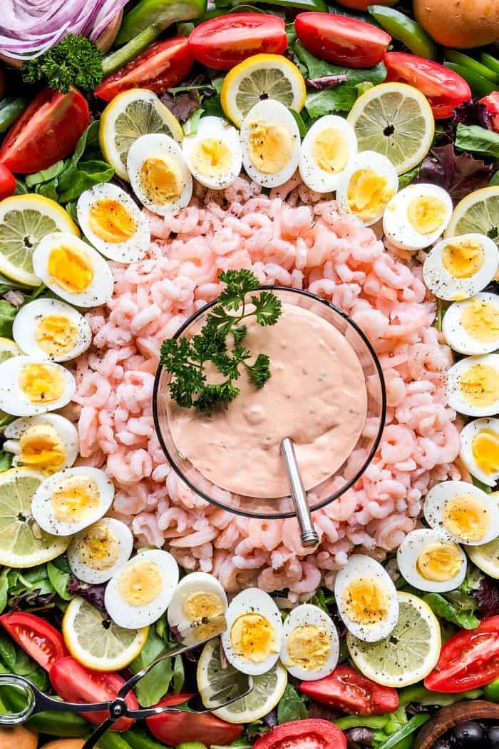 EPIC Shrimp Louis Salad Board - thousand island