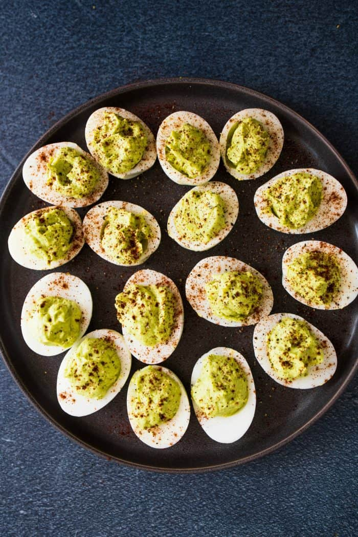 Super easy Lime Guacamole Deviled Eggs