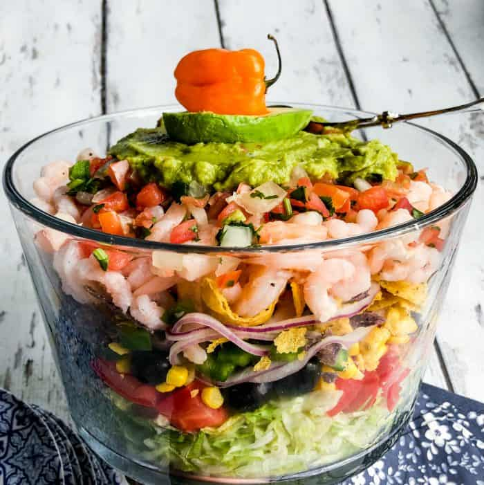 BEST Mexican Shrimp Layered Salad