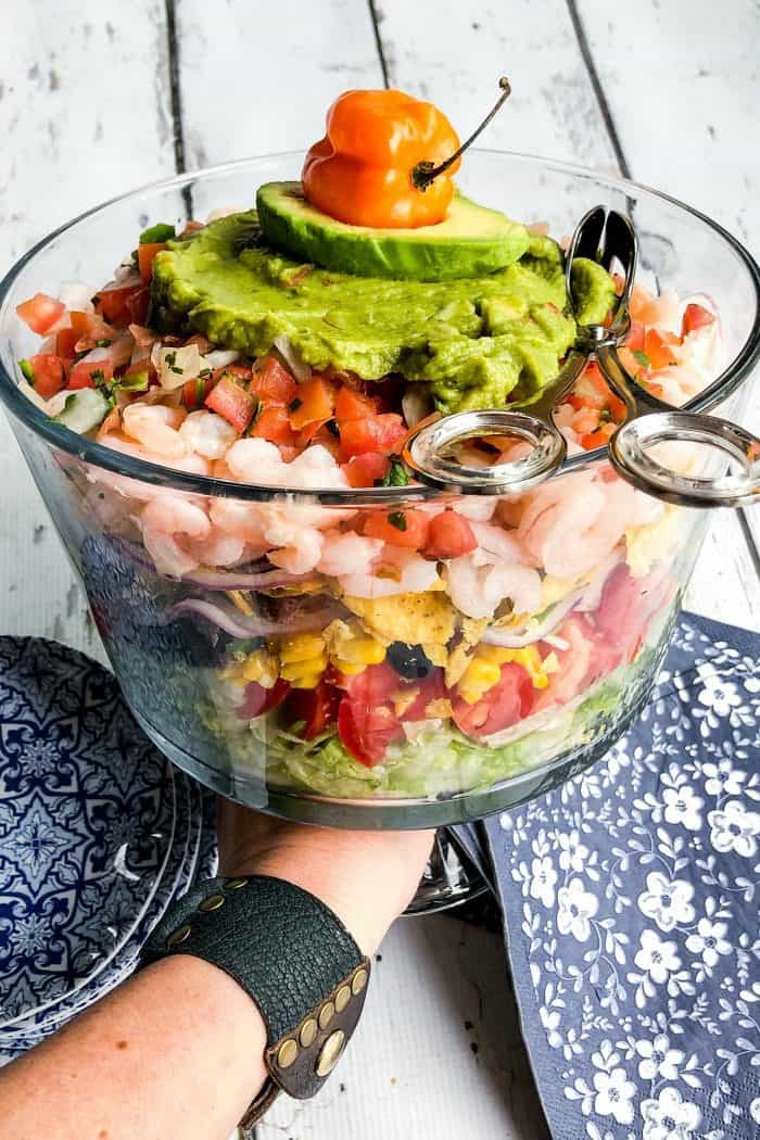 Easy Mexican Shrimp Layered Salad