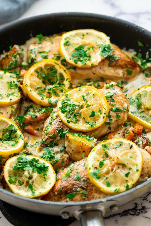 skilllet of lemon chicken