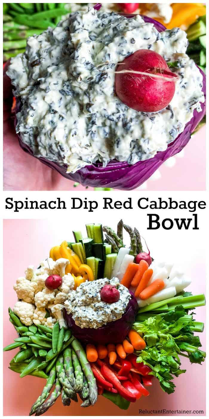 Spinach Dip Red Cabbage Bowl Recipe