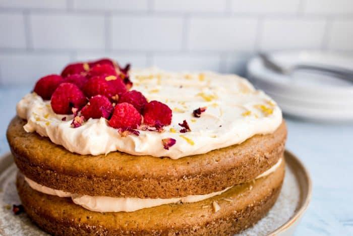 Best Vegan Cardamom Raspberry Cake