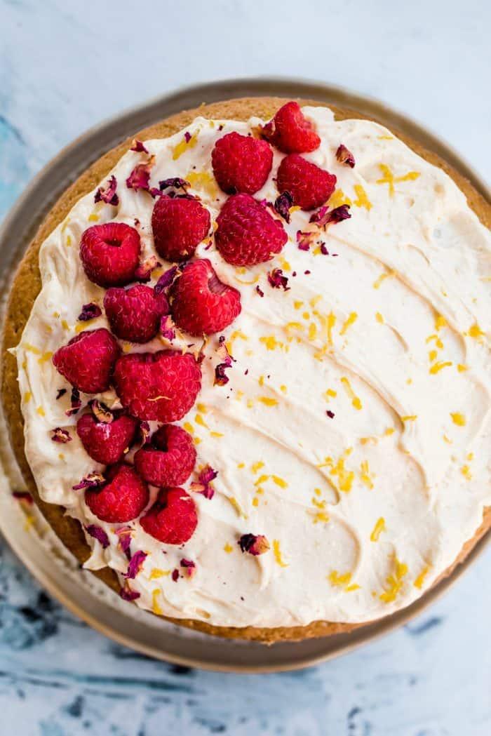 Vegan Cardamom Raspberry Cake