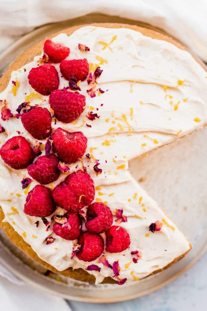 Easy Vegan Cardamom Raspberry Cake