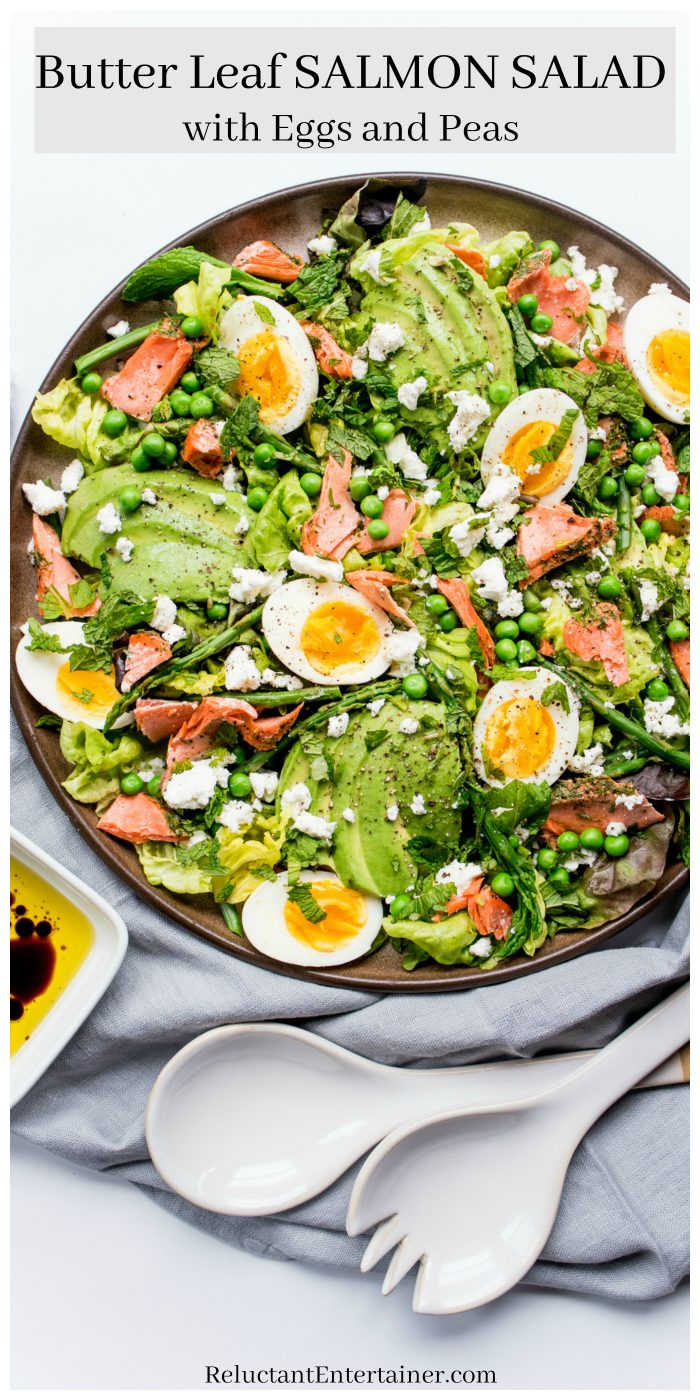 Butter Leaf Salmon Salad with Peas and Eggs #salmonsalad #butterleafsalmonsalad