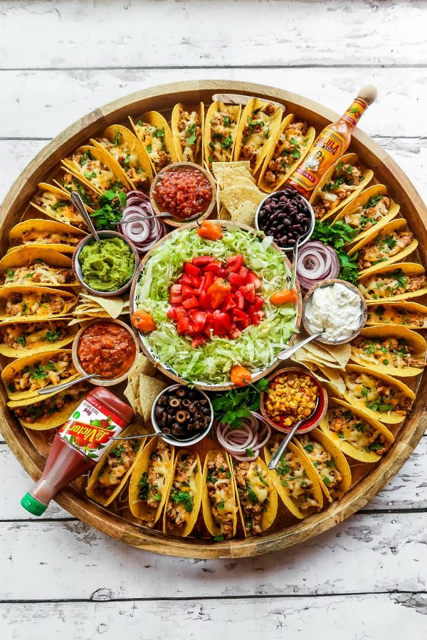 round platter of tacos