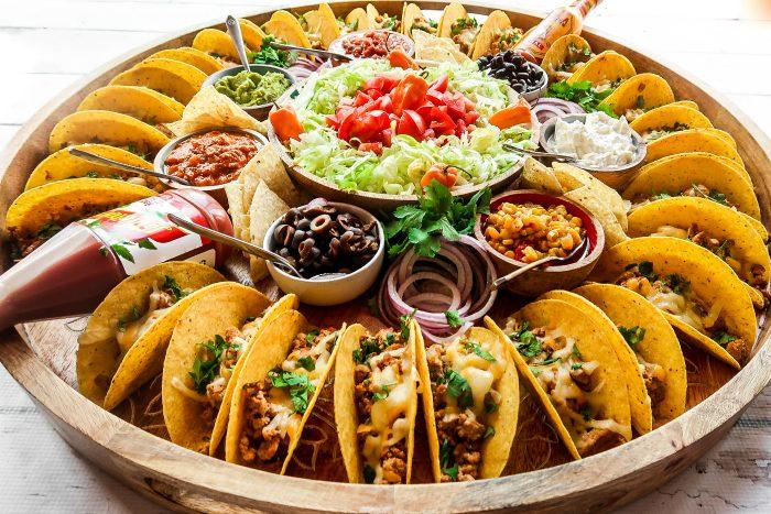 round wood taco board