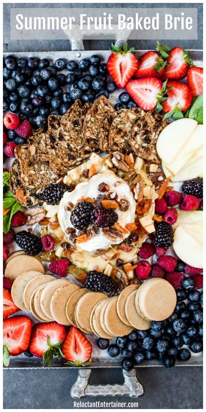 Summer Fruit Baked Brie Recipe #appetizer #bakedbrie #summerappetizer