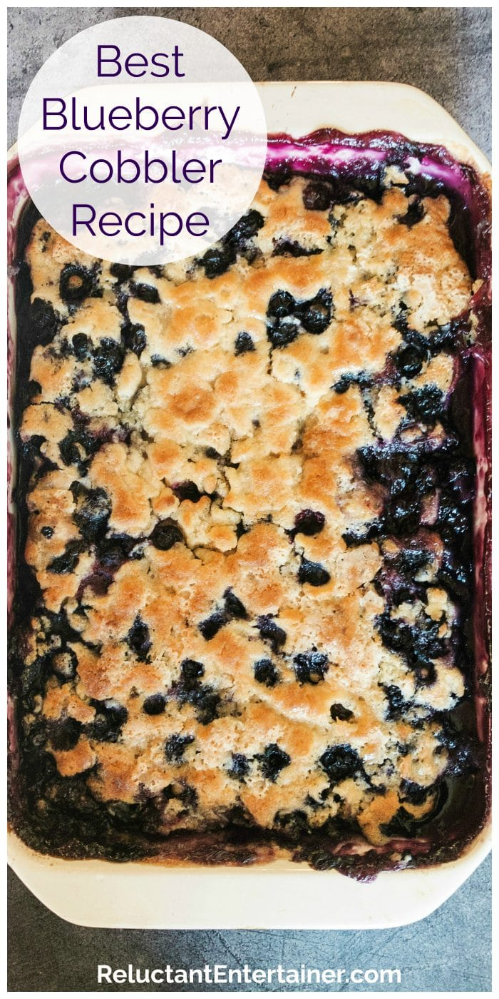 close up view of blueberry cobbler
