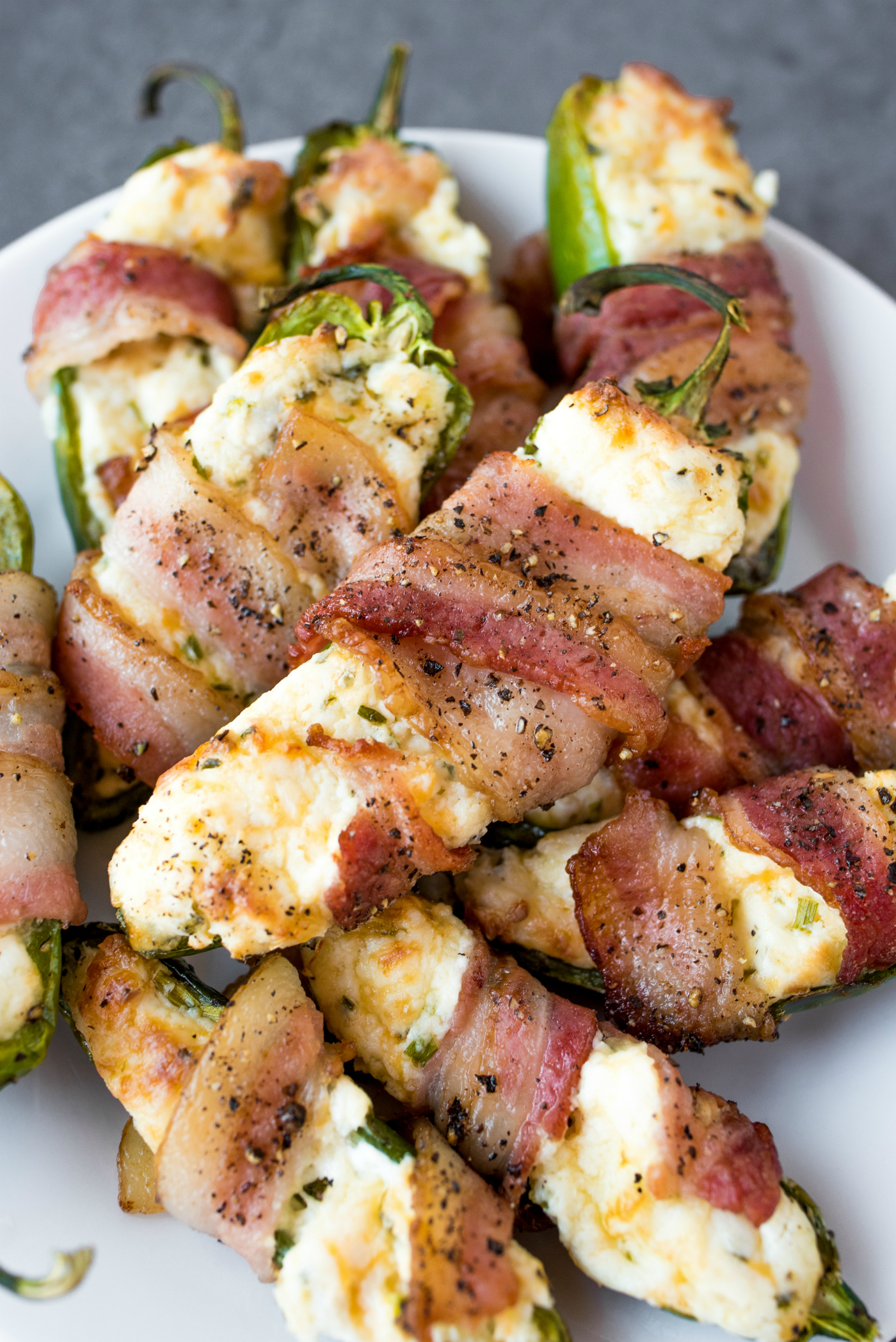 Air Fryer Cheesy Jalapeño Poppers wrapped in bacon