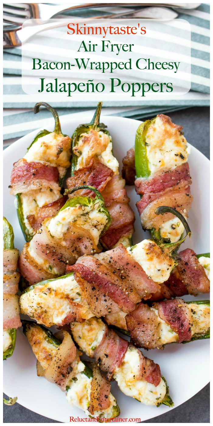 close up Bacon-Wrapped Air Fryer Cheesy Jalapeño Poppers on a plate