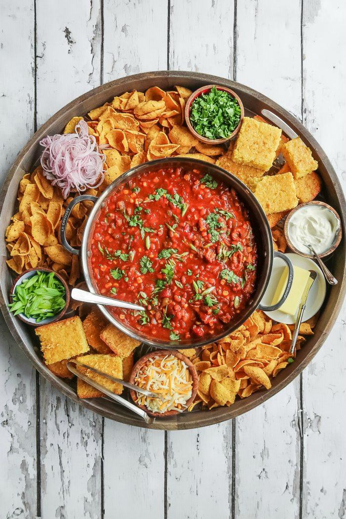 Make ahead EPIC Chili Dinner Board Recipe